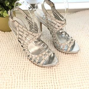 Jessica Simpson silver studded cage heels size 6